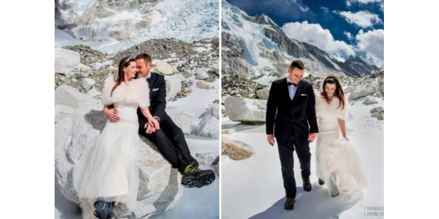 Noivos caminham por mais de 1 semana para se casar no Everest