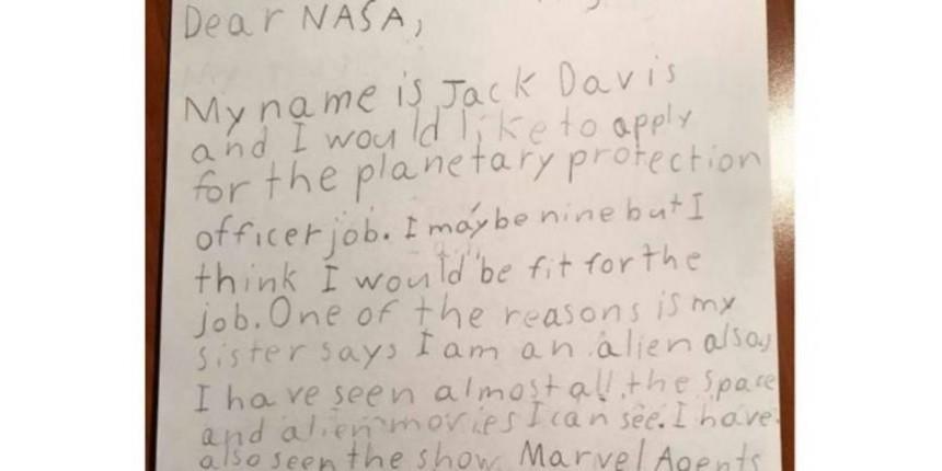 Nasa responde a menino de nove anos que se candidatou a vaga de 'protetor da Terra'