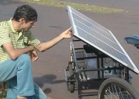 Estudante cria bicicleta elétrica movida a energia solar