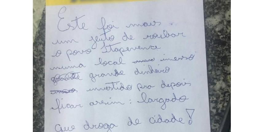 Ladrão furta ONG e deixa bilhete reclamando de abandono