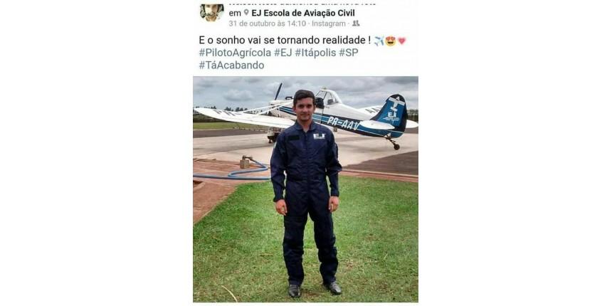 Neto de prefeito que morreu em queda de avião fazia voo de treinamento
