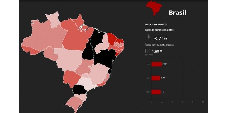 Mapa mostra mais de 11 mil assassinados no 1º trimestre do ano no Brasil