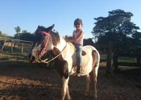 Menina de 6 anos chama a atenção ao montar cavalo e pastorear...