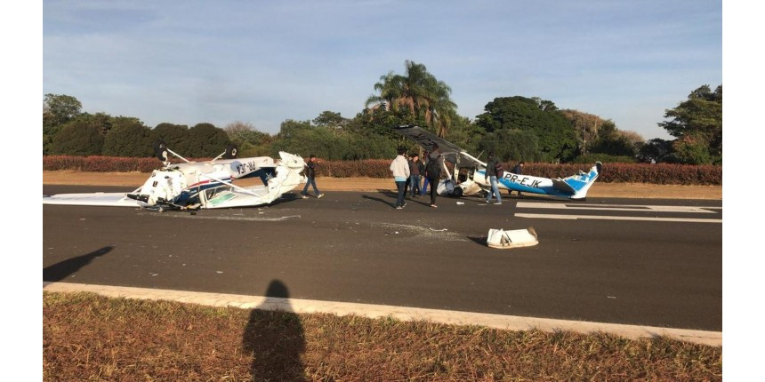 Aeronaves batem durante pouso em aeroclube