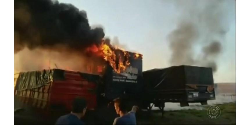 Fogo em mato atinge pátio de posto de combustíveis e queima cinco carretas