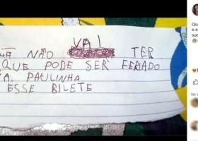Menino de 5 anos manda bilhete em nome da professora para não...