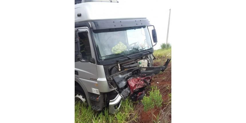 Motorista morre após bater de frente com caminhão