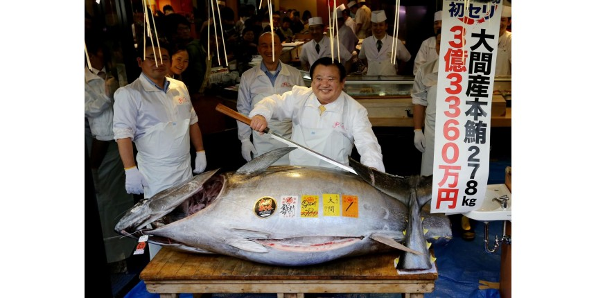 Atum é vendido por US$ 3,1 milhões e bate recorde em leilão anual no Japão