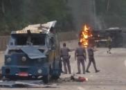 Grupo explode carros-fortes na rodovia dos Tamoios em SP