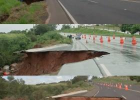 Conserto de erosão que 'engoliu' parte de rodovia deve durar três meses