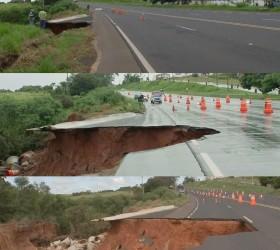 Conserto de erosão que 'engoliu' parte de rodovia deve durar...