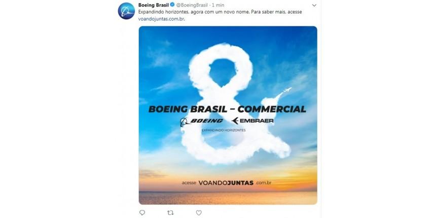 Boeing Brasil-Commercial é o nome de nova empresa de aviação em fusão com Embraer