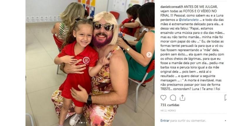 Viúvo que se vestiu de 'mãe' parar ir com filha a festa do Dia das Mães se surpreende com repercussão: 'Levei amor'