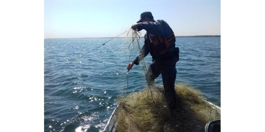 Fiscalização recolhe mais de cinco mil metros de redes de pesca irregulares armadas no Rio Paraná