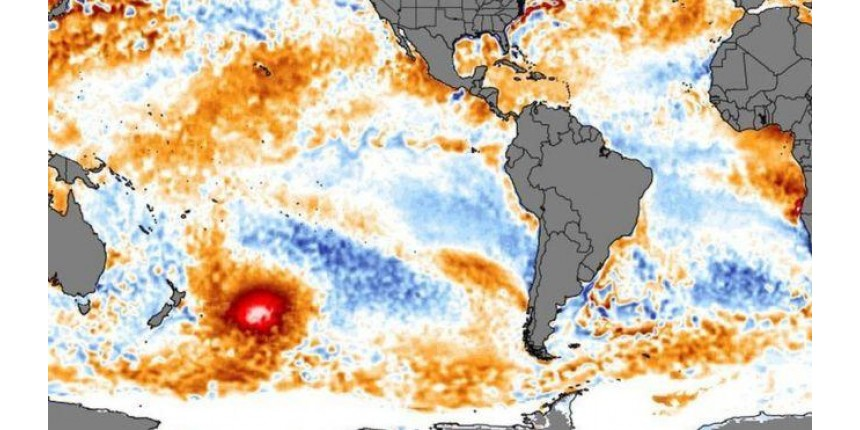 A mancha quente de água que se move no Pacífico em direção à América do Sul e inquieta cientistas