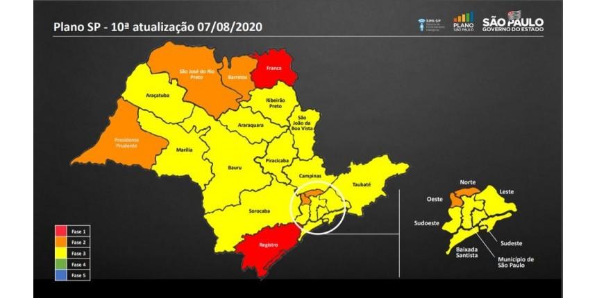 Após mudanças no Plano SP, nove regiões passam para a fase amarela de reabertura no estado